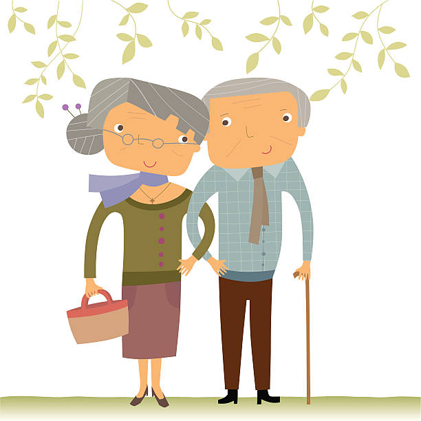 bildbanksillustrationer, clip art samt tecknat material och ikoner med happy senior couple - middle aged man dating