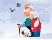 vector illustration of happy senior couple with dog and pigeon