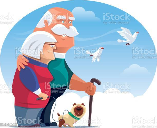 Happy senior couple with dog and doves vector id833236554?b=1&k=6&m=833236554&s=612x612&h=xq3iq9fgqw7bjgxfvzn4rmokeb4x0fmf2k2cstdgyio=
