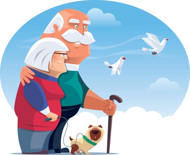 happy senior couple with dog and doves vector illustration of happy senior couple with dog and doves… old person with pug stock illustrations