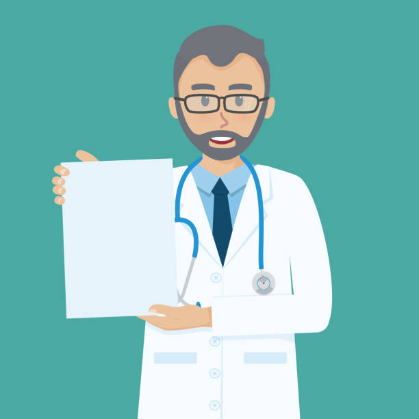 happy senior doctor shows blank paper on his hand. - old man showing thumbs up background stock illustrations