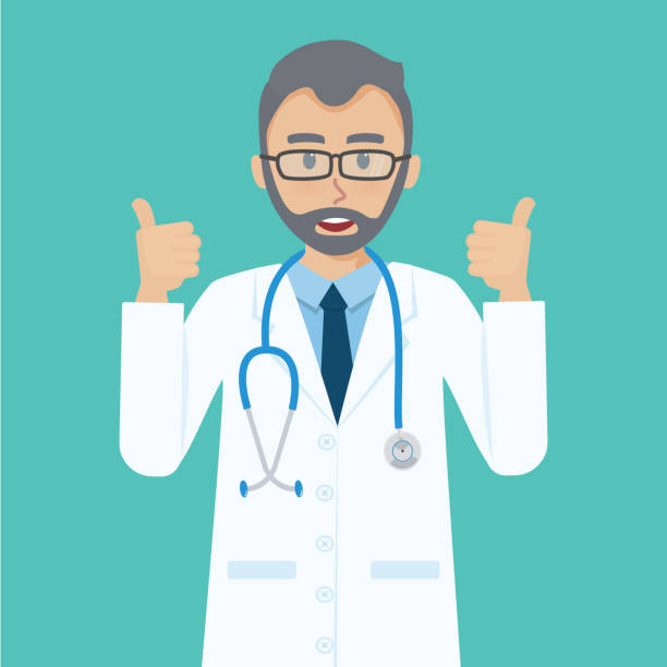 happy senior doctor shows thumbs up gesture cool. - old man showing thumbs up background stock illustrations