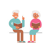 Happy Senior man and woman read and discuss books. Vector character for an educational project