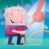 vector illustration of happy senior man holding big hand...
