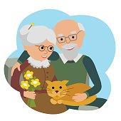 Happy senior man woman family sitting with cat. Vector illustration
