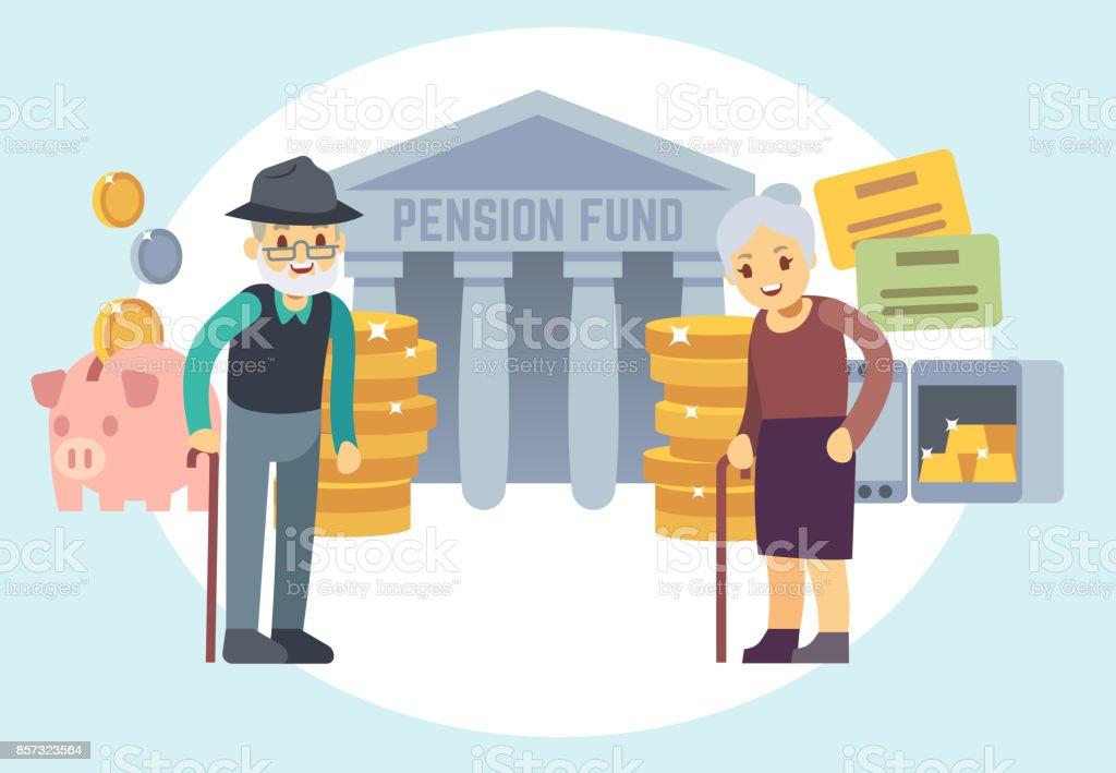ハッピー シニア老人年金のお金を保存します。退職後の計画と個人金融プログラムのベクトル概念文字 ベクターアートイラスト