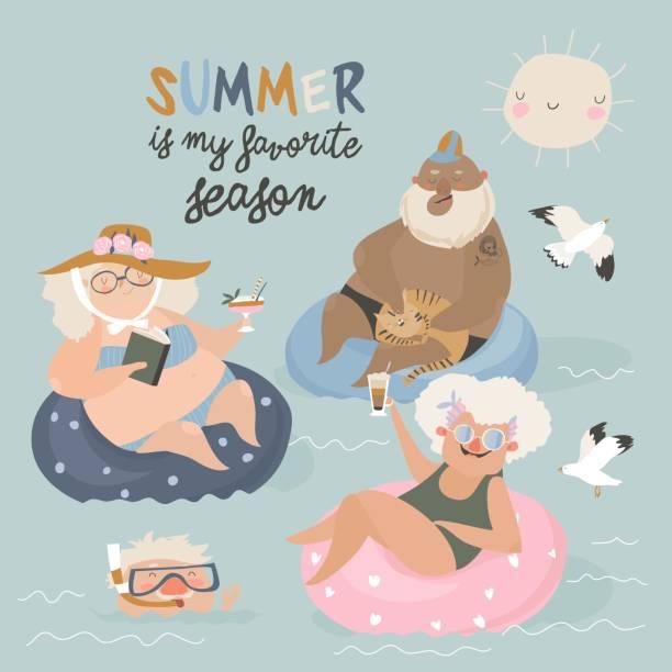 bildbanksillustrationer, clip art samt tecknat material och ikoner med glada seniorer som simmar i en pool med cocktail - aktiva pensionärer utflykt