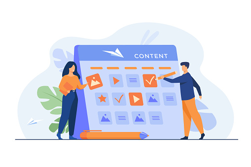 Happy SEO planning campaign for social media isolated flat vector illustration. Cartoon tiny characters standing near calendar with plan for website content. development and communication concept