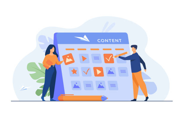 Happy SEO planning campaign for social media Happy SEO planning campaign for social media isolated flat vector illustration. Cartoon tiny characters standing near calendar with plan for website content. development and communication concept contented emotion stock illustrations
