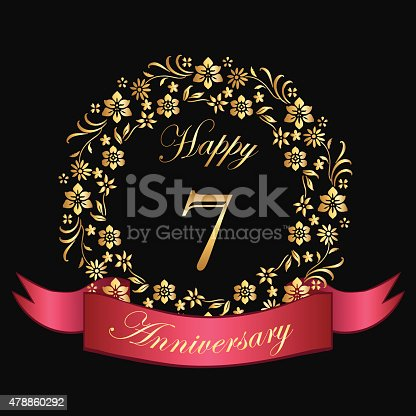 Gold floral happy seven year anniversary card with a red banner.