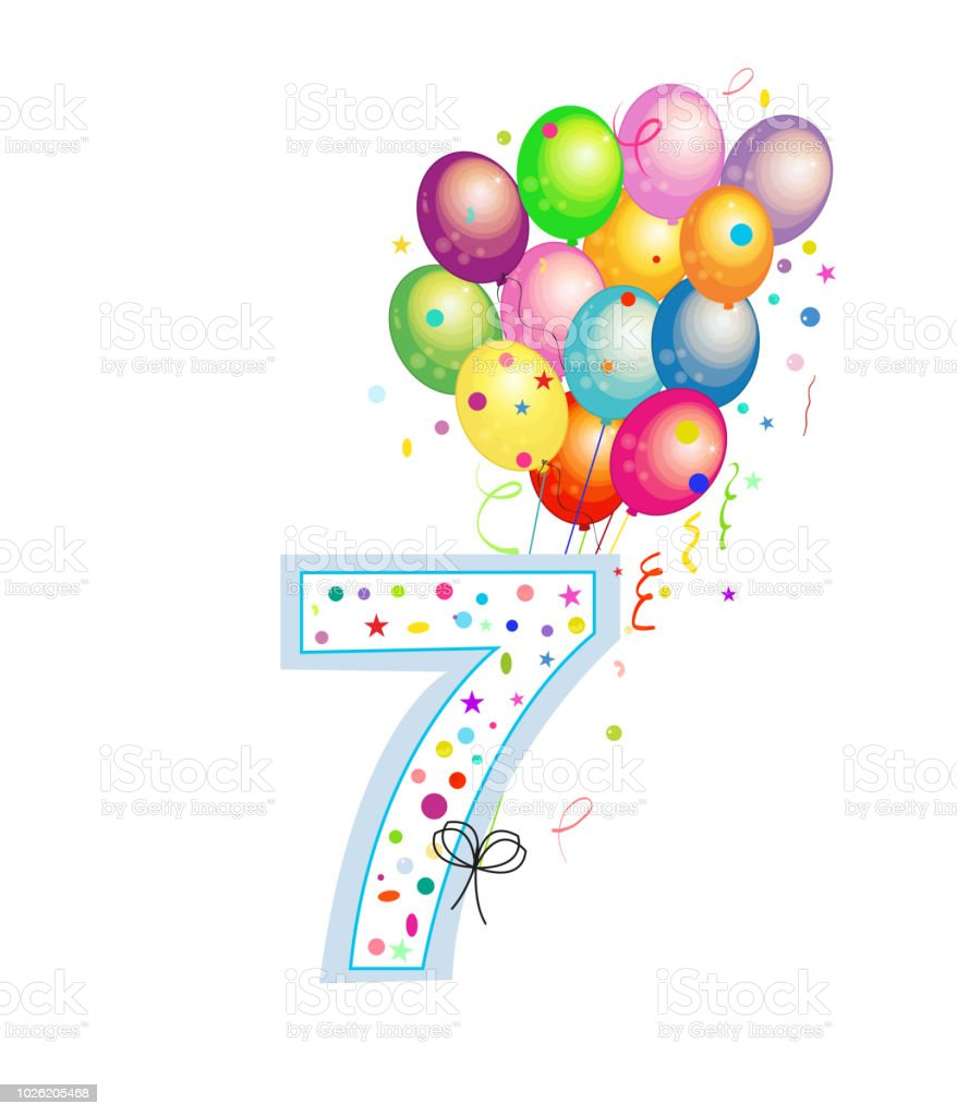 Happy Seventh Birthday Candle Seven Numbered Balloon Colorful Balloons Greeting Card Background Royalty