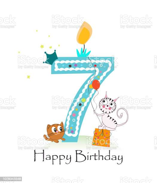 Happy seventh birthday candle with cute cats birthday greeting card vector id1028343348?b=1&k=6&m=1028343348&s=612x612&h=0kao4xxwxxmxvwwc8z9wsj2uv4dghbt4gocnzq1 gs8=