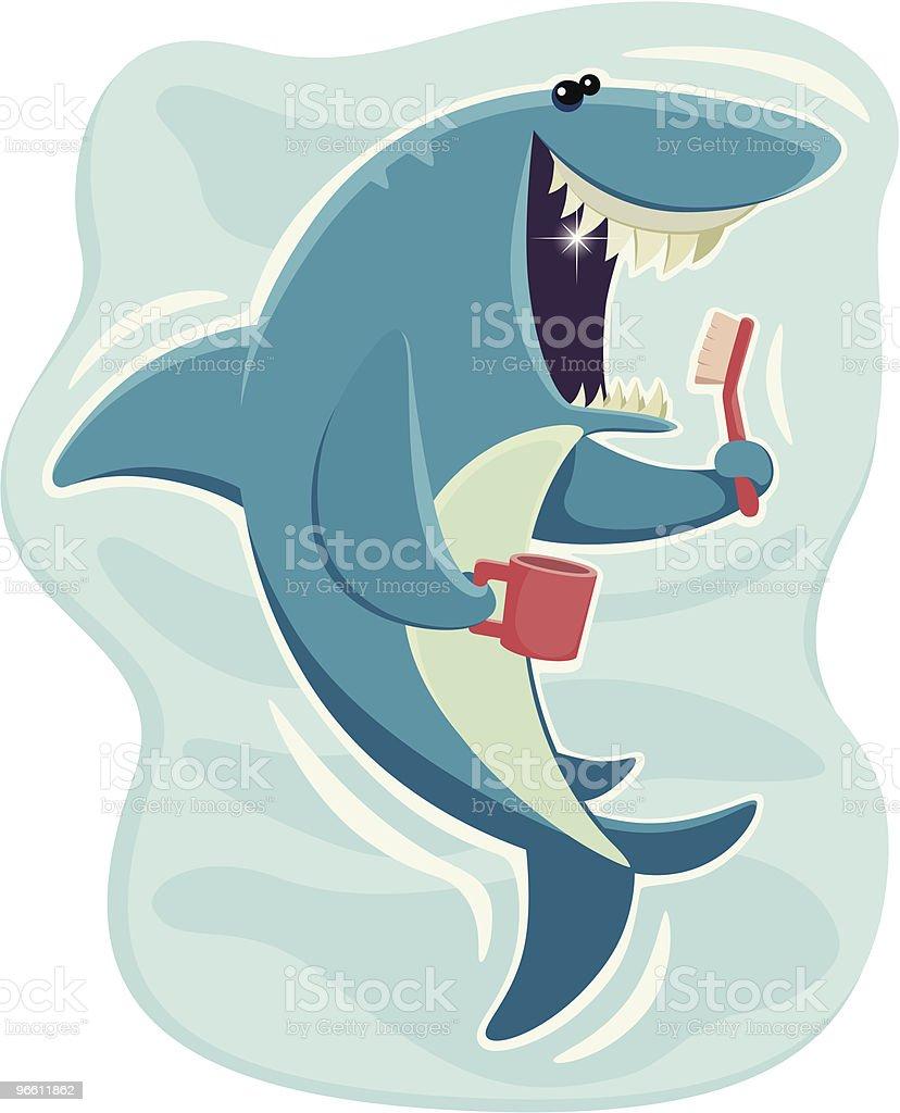 happy shark - Royaltyfri Borsta tänder vektorgrafik