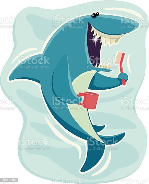 Happy Shark-vektorgrafik och fler bilder på Borsta tänder
