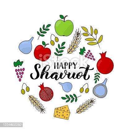istock Happy Shavuot calligraphy lettering with hand drawn symbols. Jewish holiday greeting card. Easy to edit vector template for banner, typography poster, invitation, flyer. 1224802252