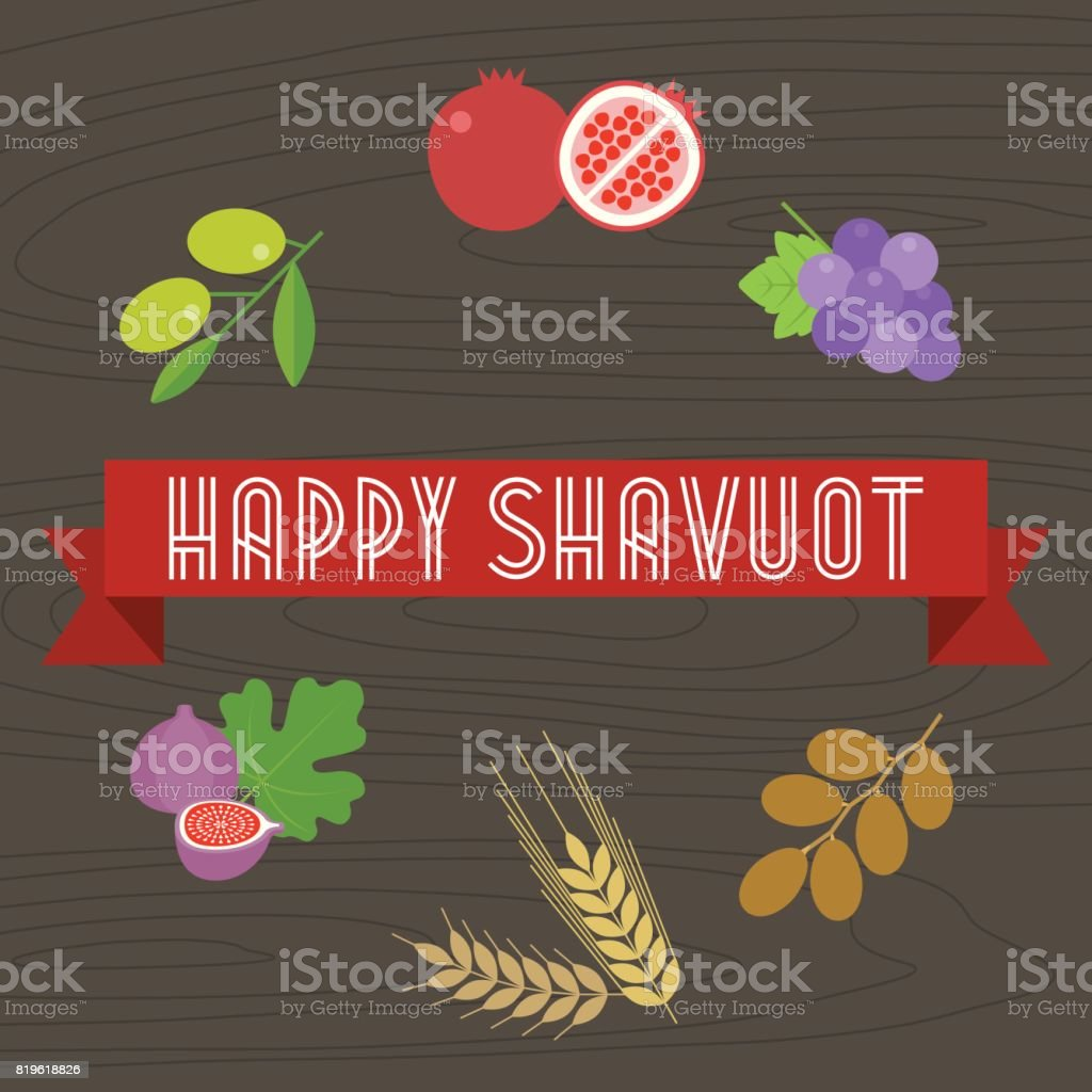 Happy shavuot headline on ribbon with 7 species and wooden background vector art illustration