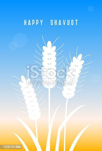 istock Happy Shavuot holiday design. Wheat field. Happy Shavuot! Wheat. Vector illustration. Concept of Judaic holiday Shavuot. Happy Shavuot in Jerusalem. Land of Israel wheat harvest greeting card 1220751365