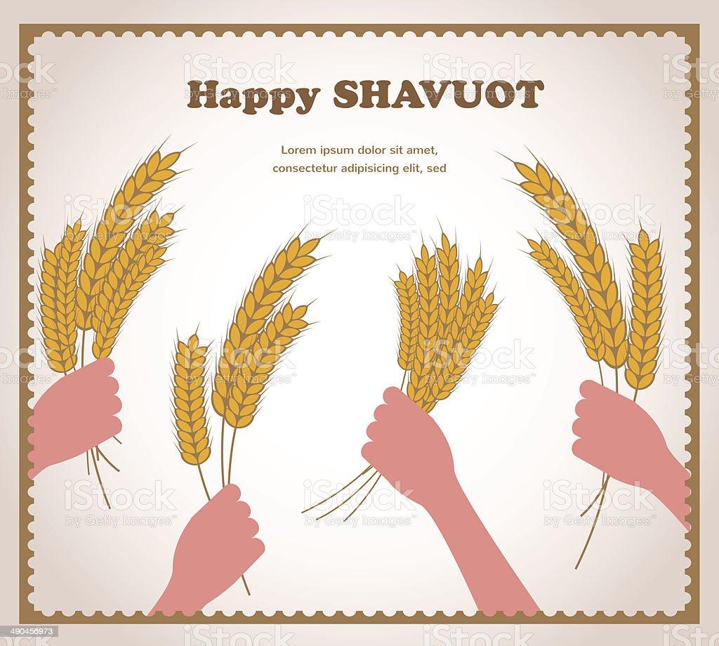 happy Shavuot, Jewish holiday card. vector art illustration