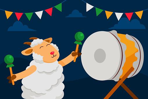 Happy Sheep Playing Drum Celebrating Adha