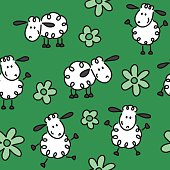 seamless pattern with cute sheep doodles and flowers