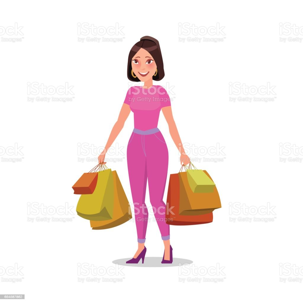 2b5b3914c1b Happy Shopping Girl Or Woman With Bags Big Sale Stock Vector Art ...