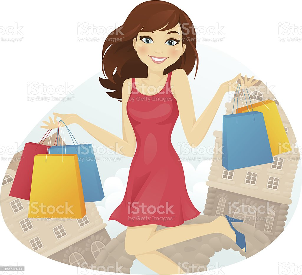 Happy shopping girl royalty-free happy shopping girl stock vector art & more images of adult
