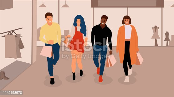 Happy shopping people with Fashion Shop Interior. Vector background