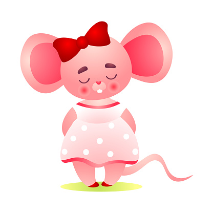 Happy shy pink female mouse character with a red bow on her head standing in a cute dress. Vector illustration in the flat cartoon style.