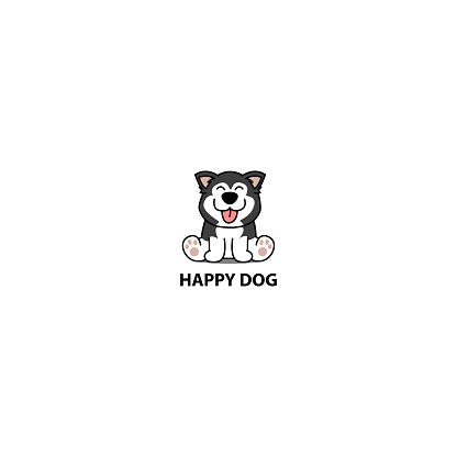 Happy siberian husky dog sitting cartoon icon, logo design, vector illustration
