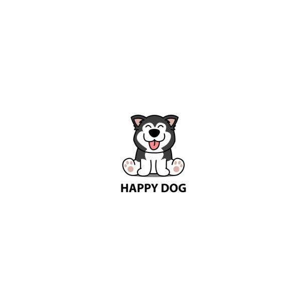 ilustrações de stock, clip art, desenhos animados e ícones de happy siberian husky dog sitting cartoon icon, logo design, vector illustration - happy dog