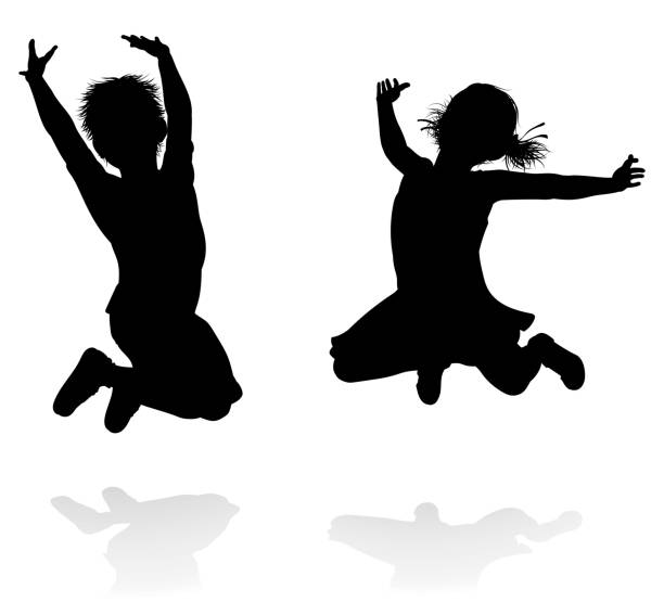 happy silhouette kids jumping - jumping stock illustrations