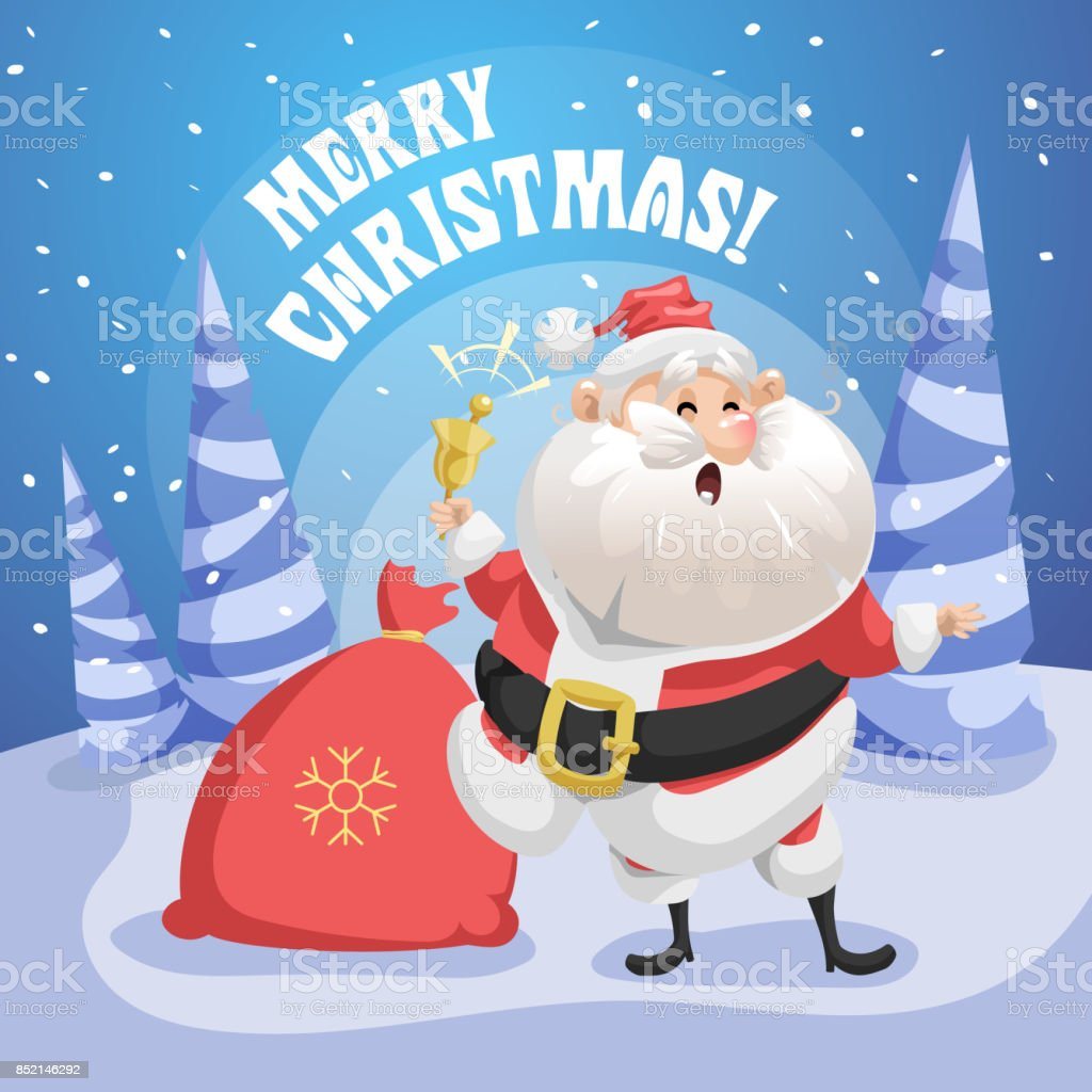 Happy Singing Song Santa Claus In Forest With Gift Sack And Ring ...