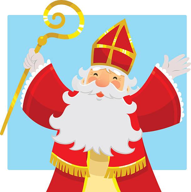 illustrations, cliparts, dessins animés et icônes de heureux sinterklaas (saint-nicolas) - saint nicolas