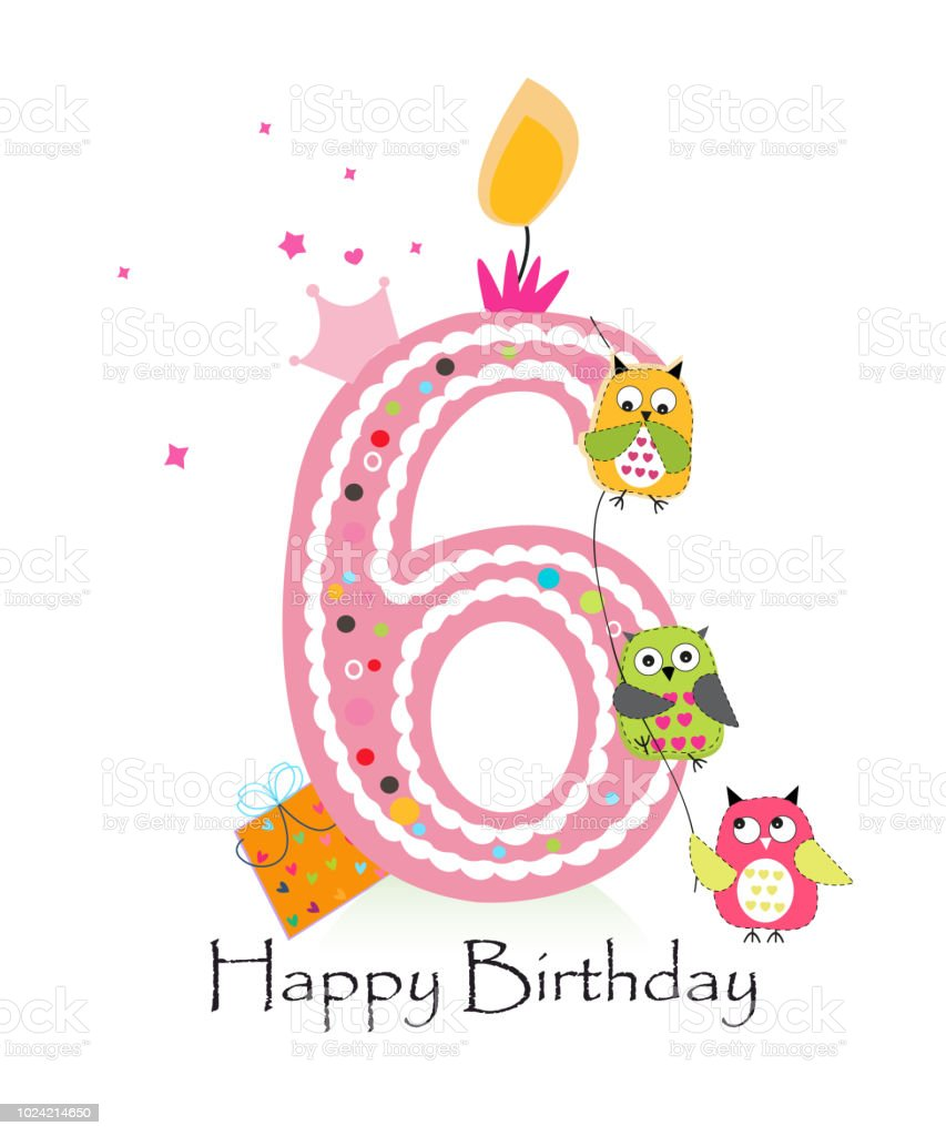 Happy Sixth Birthday With Owls Baby Girl Greeting Card ... (853 x 1024 Pixel)
