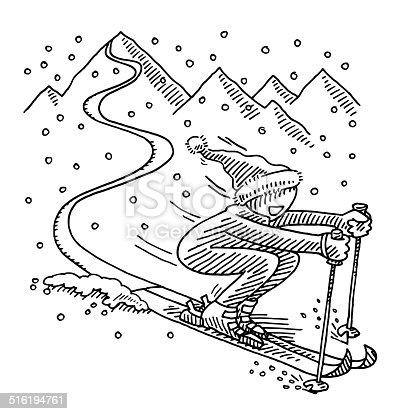 Happy Skiing Winter Sport Drawing