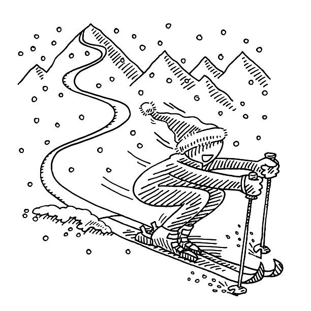 Happy Skiing Winter Sport Drawing Hand-drawn vector drawing of a Happy Skiing Winter Sport Concept with a sporty Cartoon Character. Black-and-White sketch on a transparent background (.eps-file). Included files are EPS (v10) and Hi-Res JPG. cartoon character figure stock illustrations