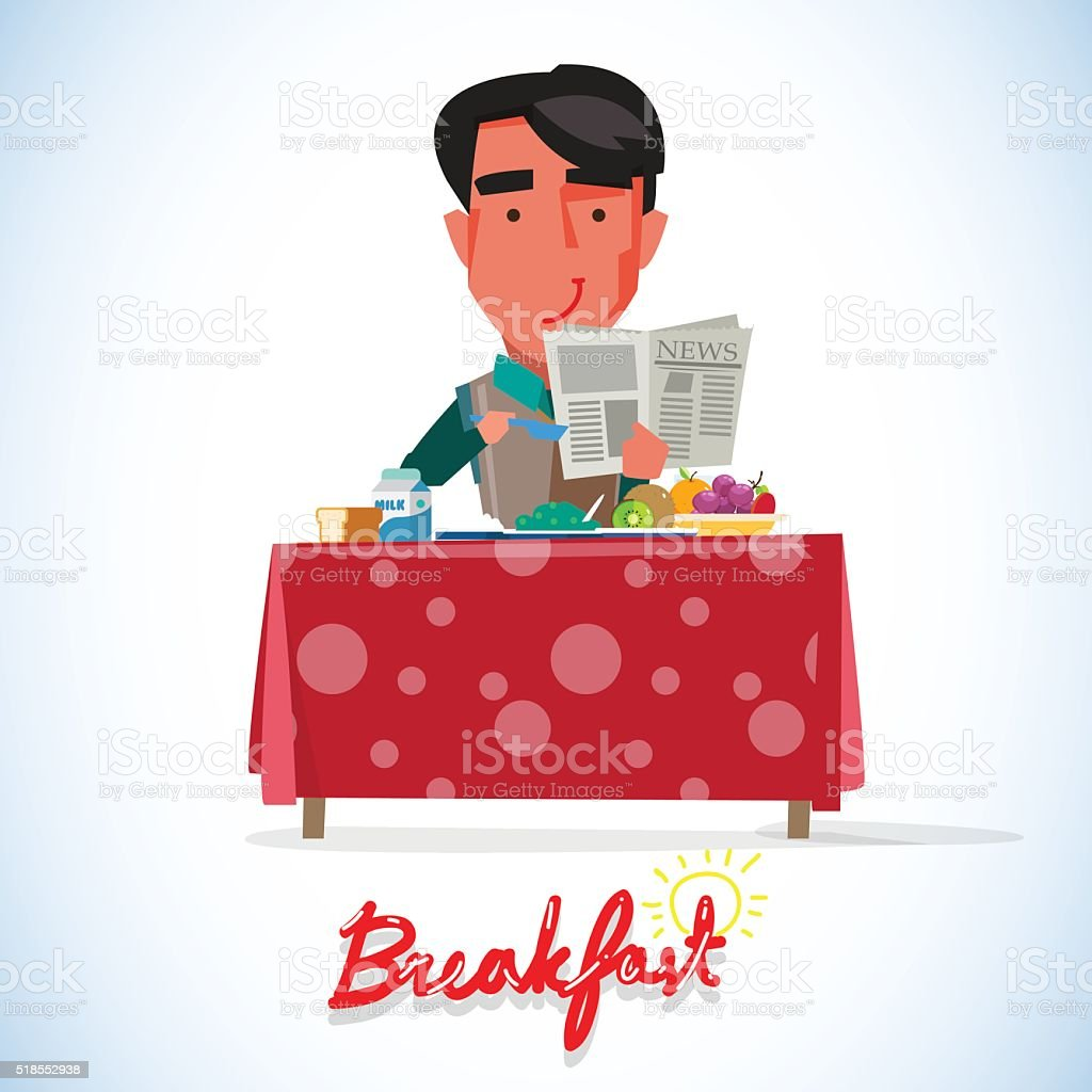 Happy Smartman Man Having Healthy Breakfast - vector vector art illustration