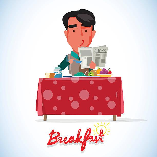 stockillustraties, clipart, cartoons en iconen met happy smartman man having healthy breakfast - vector - breakfast table