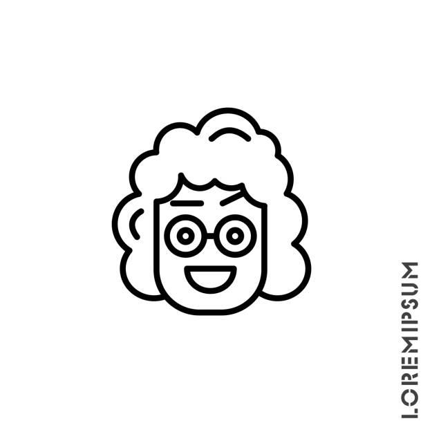 illustrazioni stock, clip art, cartoni animati e icone di tendenza di happy smile eyes open with a raised eyebrow emoticon girl, woman icon vector illustration. outline style. smile vector icon, happy symbol. linear style sign for mobile concept and web design. emoji - smile woman open mouth