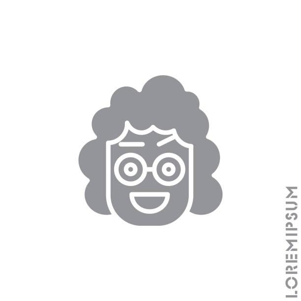 illustrazioni stock, clip art, cartoni animati e icone di tendenza di happy smile eyes open with a raised eyebrow emoticon girl, woman icon vector illustration. style. smile vector icon, happy symbol. style sign for mobile concept and web design. emoji. gray on white background - smile woman open mouth