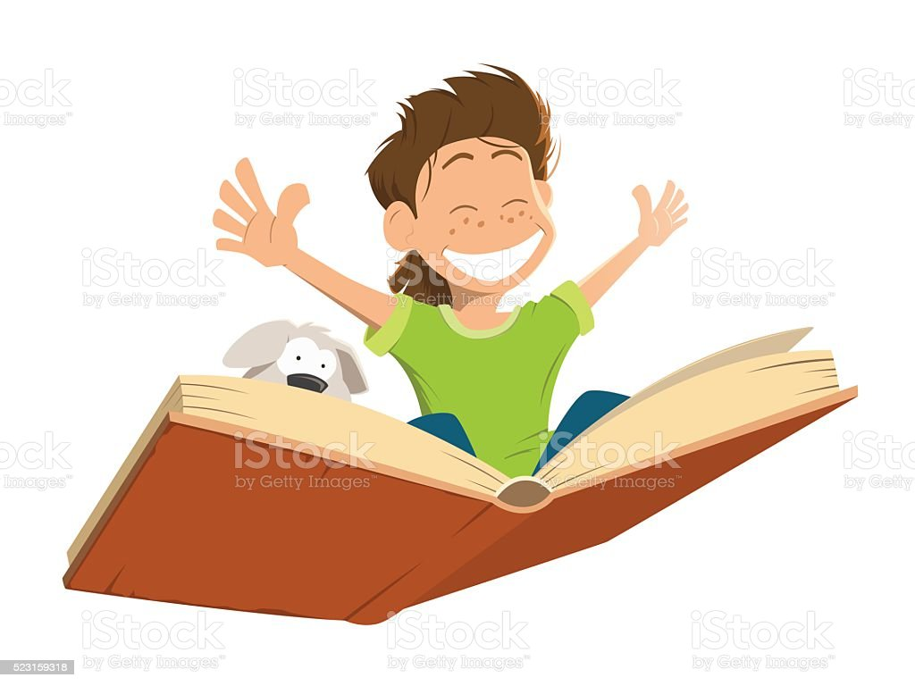 Happy smile kid boy child flying big book cute puppy vector art illustration