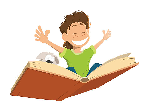 stockillustraties, clipart, cartoons en iconen met happy smile kid boy child flying big book cute puppy - prentenboek