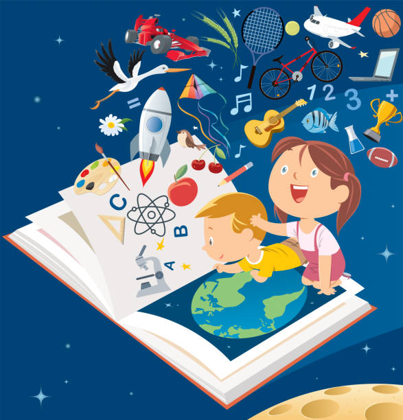 stockillustraties, clipart, cartoons en iconen met happy smile kinderen vliegen grootboek - a little girl reading a book