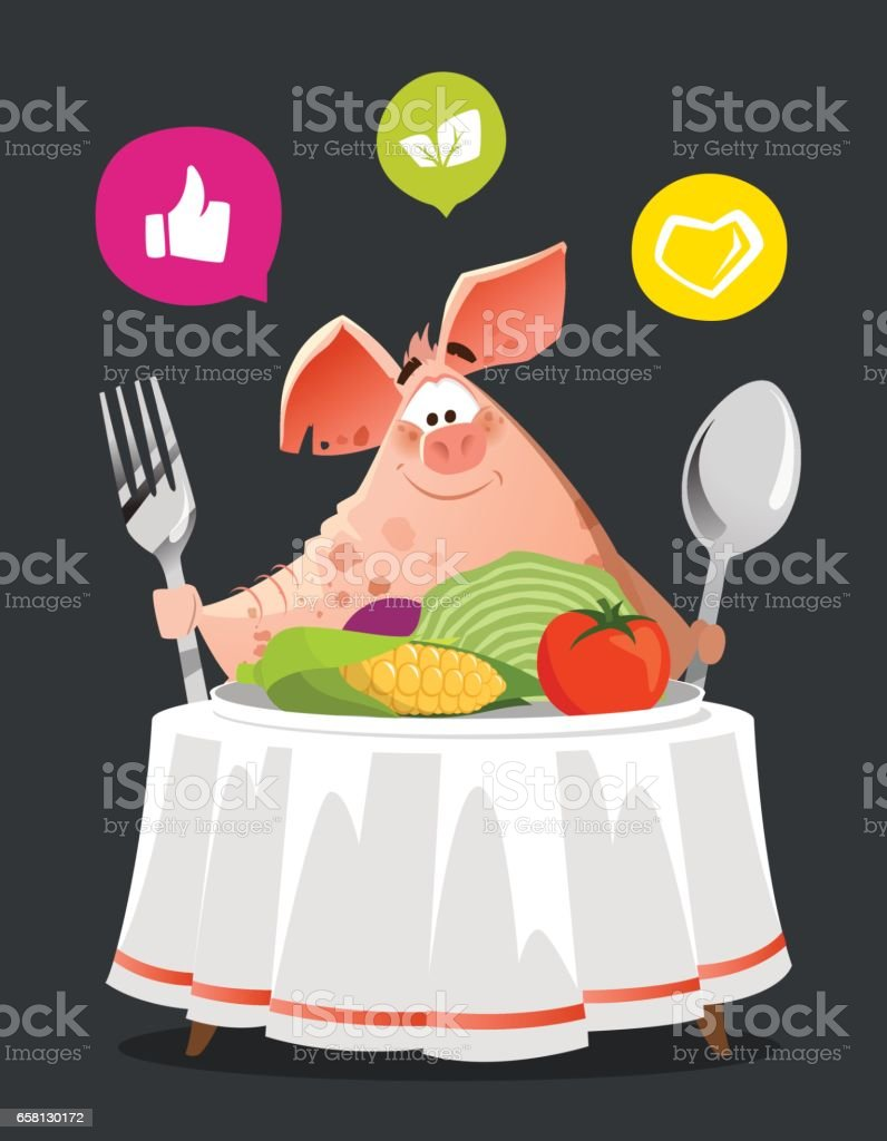 Happy smile pig sit at the table royalty-free happy smile pig sit at the table stock vector art & more images of adult