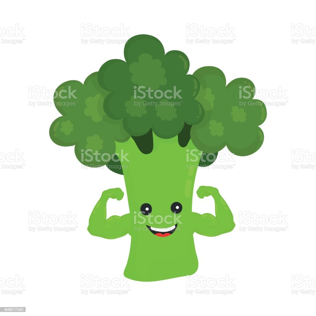 Sourire heureux brocoli fort show biceps - Illustration vectorielle
