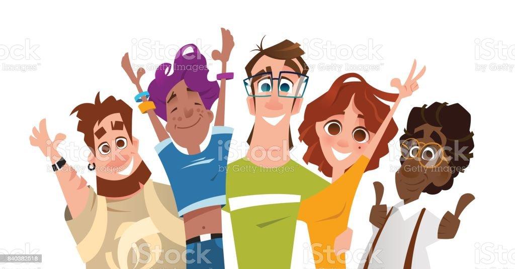 Sonrisa feliz éxito moderno equipo de amigos de los estudiantes - ilustración de arte vectorial