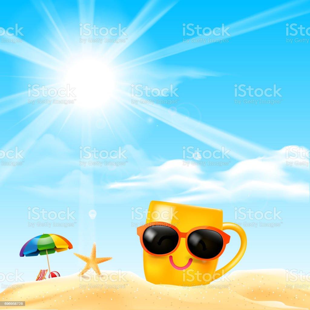 dd85c0b533 Vetor de Feliz Sorriso Amarelo Caneca Cartoon Na Praia Com Efeito ...