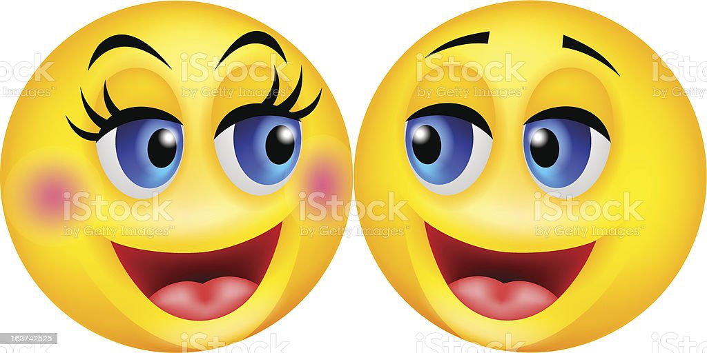 Happy smiley couple cartoon royalty-free happy smiley couple cartoon stock vector art & more images of attached