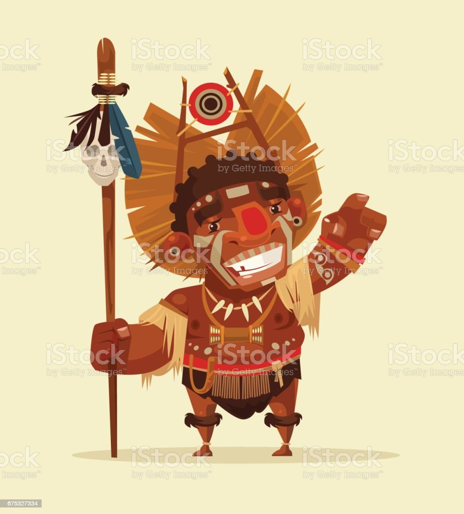 Happy smiling African leader vector art illustration