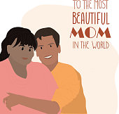 Family love and unity concept. Mother's day greeting card